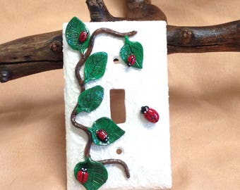 Lady Bugs Light Switch Plate, Mixed Media Art, Lady Bug Clay Sculpture,Lady Bug Art,Polymer Clay Lady Bugs