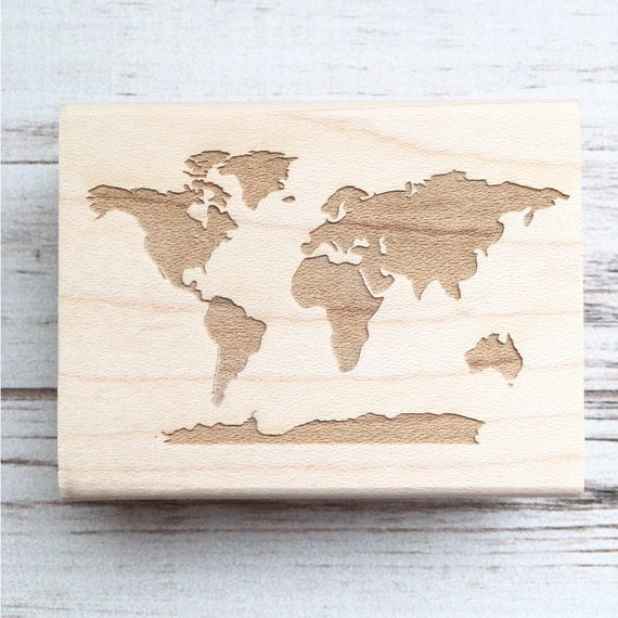 World Map Stamp 7 Continents, Earth Geography Passport Travel Stamp