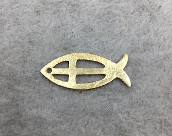 10mm x 25mm Fish Shape with Cross Cut out (Ichthys) Gold Brushed Finish Copper Components - Sold in Packs of 10 (496-GD)
