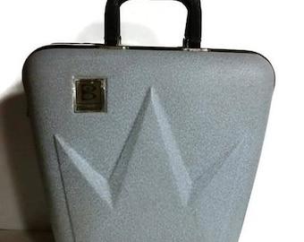 Vintage Brunswick Crown Bowling Ball Bag Hard Case, Rare, Mid Century bowling ball case, retro bowling ball case,  1960s grey blue