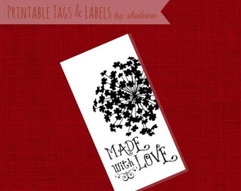 PDF Printable Hang Tags or Product Labels - Made with Love