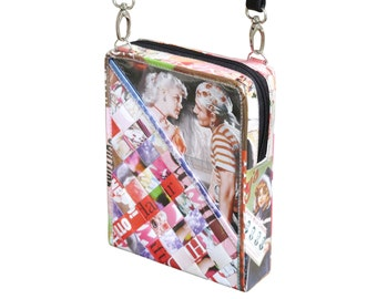 Small zip crossbody using magazine paper - FREE SHIPPING - vegan friendly gift, vegan bag, upcycling by milo, naveh milo, green product