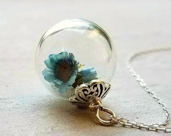 Bride's necklace by Boomdyada, something blue,  sterling with blue flowers, tiny flower necklace, glass orb necklace