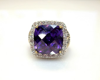 Sterling Silver Two Tone Purple Rose Cut Cubic Zirconia Leaf Ring