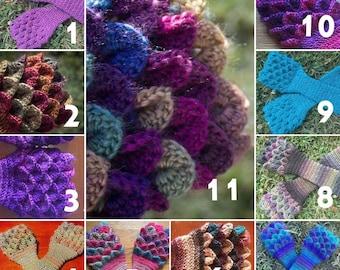 Crochet Dragon Gloves - Dragon Scale Gloves - Arm Warmers - Fingerless Gloves - gauntlet gloves
