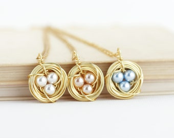 Gift For Women - Bird Nest Necklace - Pearl Eggs - New Mom - GrandGift For Woman - Gift For Her