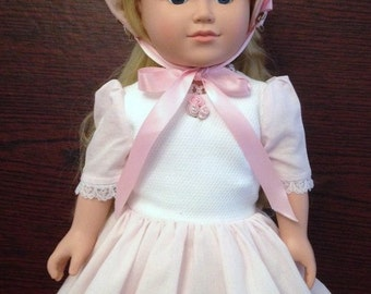 """Pink and White Dress with Bonnet made to fit 18"""" Dolls like """"American Girl"""""""