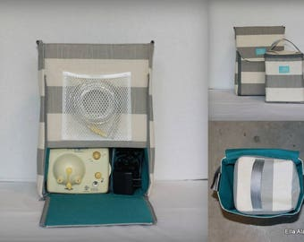 Half size Alana style Breast Pump Bag in Coastal Gray Stripe print