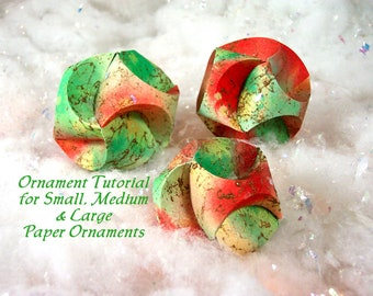 Tutorial or Pattern to Make Christmas Paper Ornaments PDF Pattern