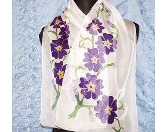 Armenian Handmade Hand Painted Batik Silk Scarf - Forget-Me-Not - Armenian Gift -  FREE SHIPPING WORLDWIDE