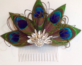 Peacock Feather And Rhinestone Bridal Hair Piece Fascinator