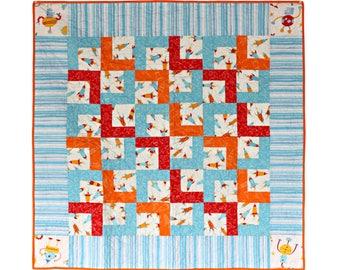 Rocket Ship and Robot Quilt. Space Ship Baby Boy Nursery Bedding. Toddler Nap Blankie. Handmade Cotton Crib Blanket. David Walker Robots