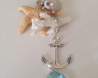 Silver Anchor Long Layering Nautical Beach Necklace