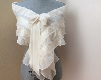 Wedding Dress Shawl Cape Cover Up - Ivory Scarf Shawl - Bridal Shrug Bolero - Bridal Accessories - Weddings - Bow