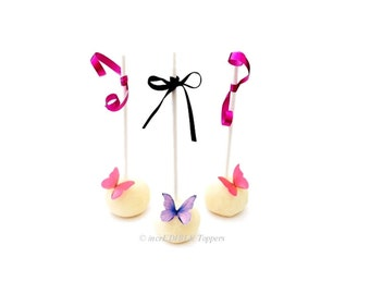 24 Edible Butterflies - Mini Pink and Purple -  Cake Pops - Wedding Decorations - Cupcake Toppers