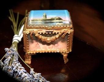 Antique French Jewelry Box Biseaute Glass and Brass Ormolu   Sku: J058