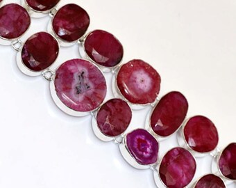 Ruby And Solar Quartz  HANDMADE 925 Silver Plated Cluster Bracelet B614