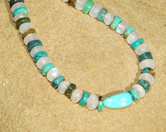 Turquoise and Rainbow Moonstone neckace - Hammered Sterling Silver Toggle - Natural Stone - Beaded Necklace - Gemstone
