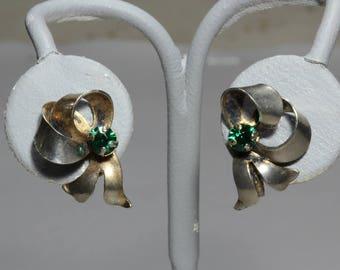Vintage 1940s Sterling Silver Emerald Rhinestone Bow Earrings, Fine WWII Era Figural Earrings Jewelry