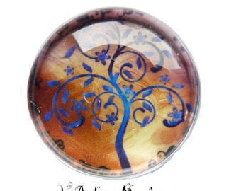 2 cabochons with stick tree and blue glass 14 mm - 1