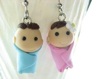 Boy and Girl Earrings, baby earrings, baby girl, baby boy, kawaii cute earrings, expecting mom gift, parents earrings, polymer clay