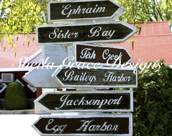 Door County Photography, Door County Towns Sign, Door County Sign, Fish Creek, Baileys Harbor, Sister Bay, Ephraim, Jacksonport, Egg Harbor