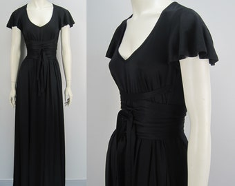 70s John Kloss maxi dress, black matte jersey dress, vintage maxi dress