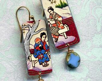 Tin Earrings, Tin Geisha Flower Earrings, Recycled Tin Earrings, 18 K Gold filled Earrings, Oriental Earrings, Tin gold lightweight Earrings