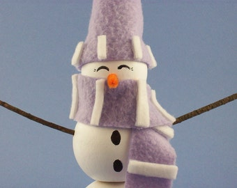 Peek-a-boo Wooden Snowman Decoration with Purple and White Striped Hat and Scarf