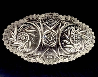 Imperial Glass Pinwheel Hobstar Sawtooth Celery Relish Dish Marked IG