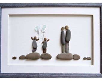 Family wall art, Pebble art family, Mother's day gift, Family framed art, Family of four gift, New home housewarming or anniversary gift