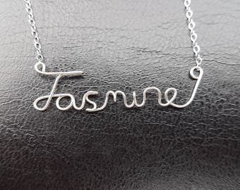 "Sterling Silver Name Necklace ""Jasmine"" Personalised Necklace Custom Name Necklace Word Sterling Silver Word Necklace Wire Name Necklace"