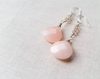 Vintage Vixen Earrings: Sterling Silver and Pink Jade Wire Wrapped Earrings with Smoky Crystals Vintage Inspired Blush Pink Drops Valentine