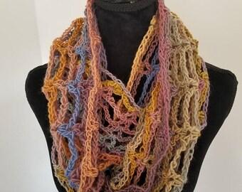 10.00 OFF Infinity Cowl Scarf - Circle Scarf, Multicolor Scarf, Scarf Neckwarmer Crochet, Unisex Scarf, Lightweight scarf, Year round