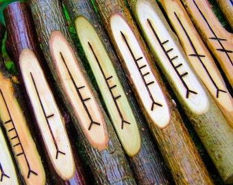 Ogham staves - 20 corresponding British Druid ogham woods, Pagan divination set, Druid gift idea, Wicca ogham divination, natural wood ogham