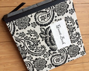 Medium Square Guest Book - Black Paisley on Natural