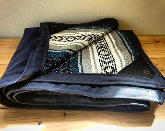 Waxed Canvas and Mexican Blanket Bed Roll