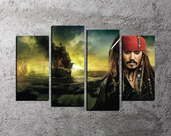 Pirates Caribbean, Pirate Canvas Print, Jack Sparrow Poster, Movie Canvas Print, Framed Canvas, Art Print, Home Decor, Split Canvas