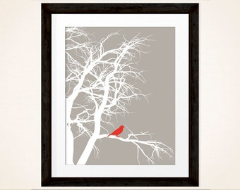 Little Red bird in tree, warm grey background with white tree branches, Living Room Art, Home or Office Decor, Printable, INSTANT DOWNLOAD