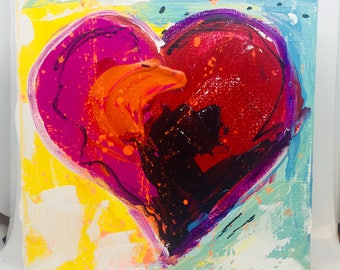 Pink and Red Original Heart Painting