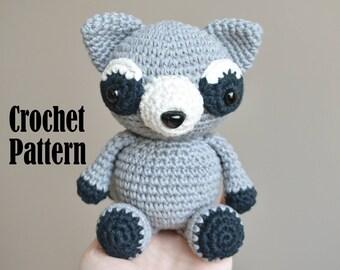 Crochet Amigurumi Pattern: Rocco the Raccoon, Crochet Toy, Stuffed Animal
