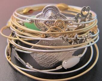 Mystery Bangle Bracelet, Grab Bag Jewelry Surprise, Gold & Silver Bangle Bracelets - 9.99 Each - Gift Under 10 Dollars