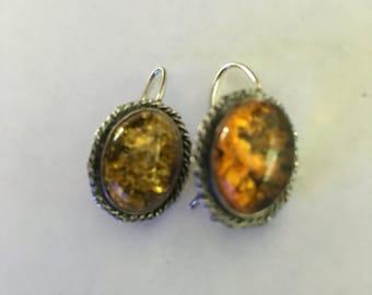 Vintage Silver Amber Earrings