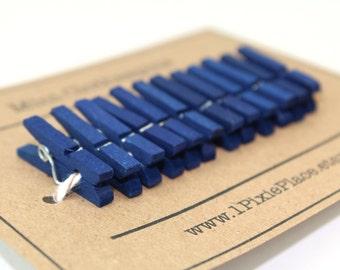 Mini Clothespins - Set of 12 - Midnight Blue