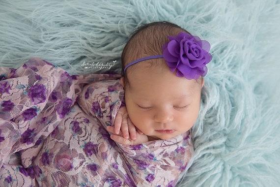 Photographer Swaddle Wrap Set, Choose 1, 2 or ALL 3 headbands, newborn photo shoots, Purple Print Lace Swaddle Wrap, Lil Miss Sweet Pea