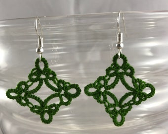 Square Green Tatted Earrings