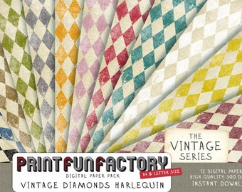 Harlequin digital paper - Vintage distressed diamonds background - 12 digital papers (#076) INSTANT DOWNLOAD