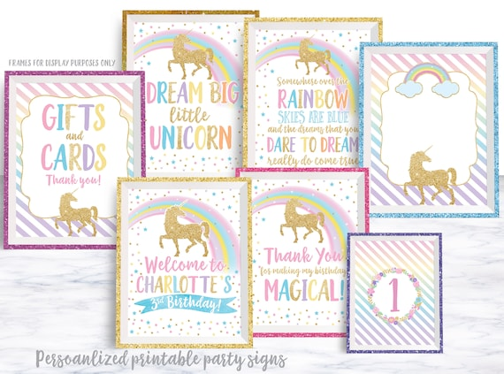Unicorn Party Signs, Unicorn Birthday Party Decorations, Centerpiece
