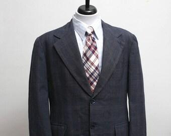 Men's Blazer / Vintage Plaid Jacket / Size 44 Large