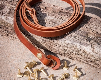10mm Leather Camera Strap with Hand Set Solid Brass Rivets and Brass Rings.